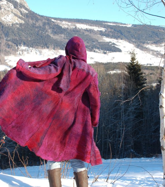 nuno felt coat with silk in bright pink