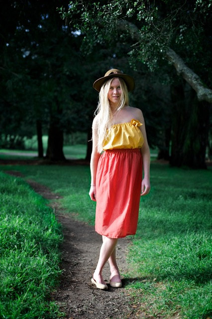 cotton orange maxi skirt