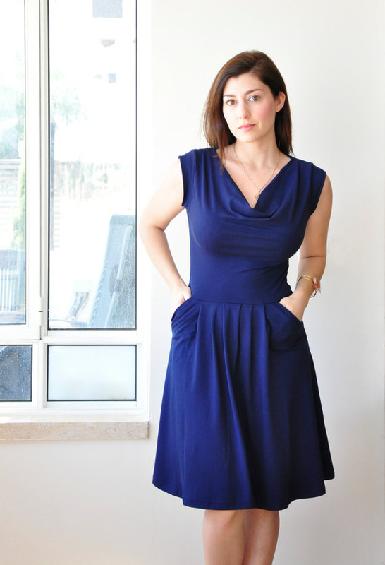 deep blue jersey dress